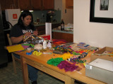 Becky - doing our Mardi Gras floats for work