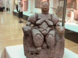 From Catal Hoyuk, this fertility figure (about 7,000 yrs old with 2 leopards at her