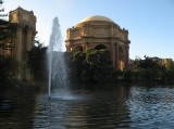 Palace of Fine Arts fountain in lagoon