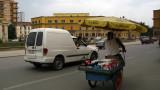 Merging into traffic, Skanderbeg Square