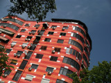 Brightly colored apartment tower, Blloku