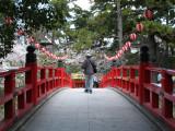 Old man walking over the Shinkyō-bashi