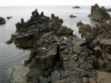 Eroded basalt rocks at the water's edge