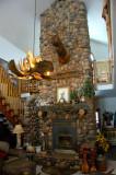 Custom River Rock Fireplace