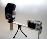 Sample setup. (Earlier model.) Unit has PC cord used with a hot shoe adapter,