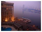 The hotel covered in mist