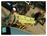This man pushing the sugarcanes on the cart was faster than us in the bus