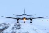...finishing the landing roll out on a cold day at Points North Landing, SK