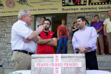 Mr. Dick Mol speeching to the mayor of Grevena and the local people from Milia