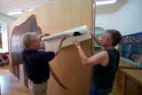 Dick Mol and Wilrie van Logchem working in the museum