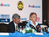 K. Rajagopal and Roberto Mancini at the press conference