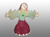 Hand built stoneware clay Woman in worship (night light)