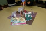 Creative centerpieces-with blogs and hand stampings