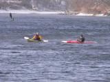 Intrepid, frozen paddlers