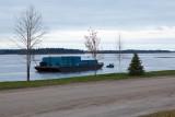 Barge being towed towards winter storage 2011 Nov 2