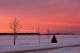 Red sunrise skies looking up the Moose River 2011 December 3rd