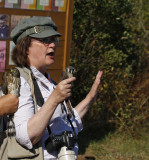 Laura Erickson with  American Kestrel