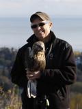 Linda with her Rough-legged Hawk