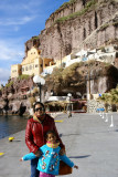 At the Santorini harbor below Fira.