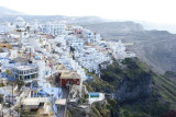 Spectacular perspective of Fira built on the Caldera (crater).