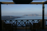 The haunting beauty of the volcanic landscape, as seen from the Cafe Classico in Fira.