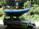 Our 1987 Landcruiser carries the raft and 6 people and travels well on bumpy roads