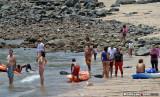 Beach goers on Playa Restinga