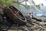 Old metal wheel on Isla Moro