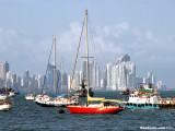 Red boat in the bay