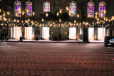 The carpeted floor and low level lighting in the Blue Mosque, Istanbul