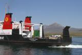 Calmac ferry approaching the Port Askaig pier, Islay