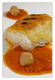 Bacalao con crema de ajos confitados