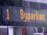 Byparken Sign on tram