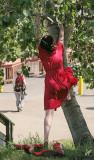 IMG_9201 Theresa climbs the Wish Tree, June 26