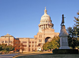 The Texas State Capitol with Firefighters and Terry's Rangers statues.