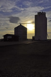 Hyde, CO grain elevator near sunset.
