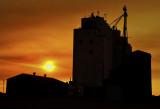 Roggen, CO grain elevator at sunrise.