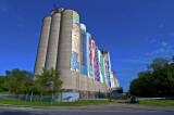 Omaha, NE grain elevator, with banners.
