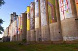 Omaha, NE grain elevator, with artist banners.