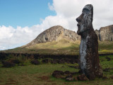 Solitary moai, quarry site in the background