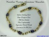 Kaisilver Bracelet, Iolite Gemstone Bracelet. Custom Gold or Silver Bracelet