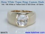 MAN75 Mens White Topaz Ring, Gold or Silver Topaz Rings For Men