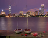 Back Bay Skyline at Night with Charles River and Sailboats