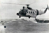 1965 - Coast Guard Sikorsky HH-52A Seaguard #CG-1383 rescuing a surfer at South Beach after Hurricane Betsy hit South Florida
