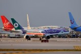 2012 - a variety of airline aircraft at Miami International Airport aviation stock photo