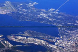 2012 - aerial view of Peter O. Knight Airport in relation to MacDill AFB with a 5.6 mile difference in runway thresholds