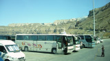 Arrival at the port; buses awaiting to pickup passengers to the towns