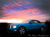 My Mustang with Burlington sunset in Vermont