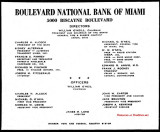1959 - ad for Boulevard National Bank of Miami with the directors and executives listed