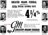 1964 - ad for Greater Miami Federal Savings and Loan Association with three locations in Dade County